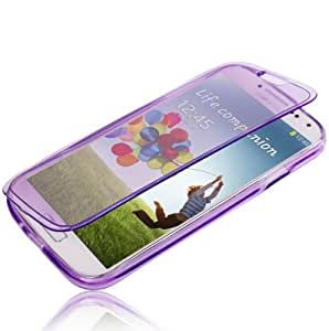 Flip Translucent Protection TPU Case for Samsung Galaxy S IV / i9500 (Purple)