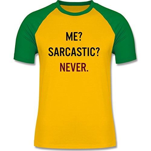 Statement Shirts - Me? Sarcastic ? Never - zweifarbiges Baseballshirt für Männer Gelb/Grün