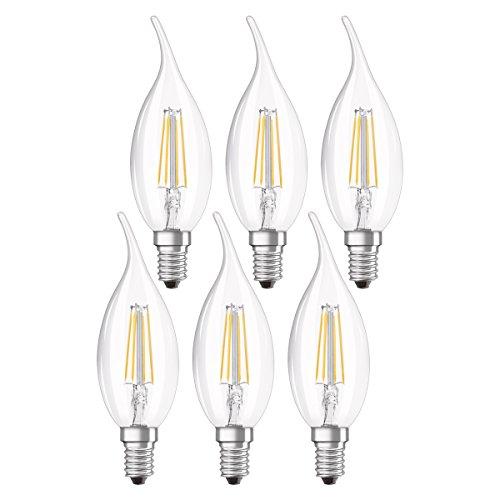 Osram LED Star Classic BA Lampe, in Kerzenform mit E14-Sockel, nicht dimmbar, Ersetzt 40 Watt, Filamentstil Klar, Warmweiß - 2700 Kelvin, 6er-Pack