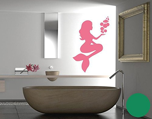 Wandtattoo Meerjungfrau B x H: 30cm x 46cm Farbe: grün von Klebefieber®