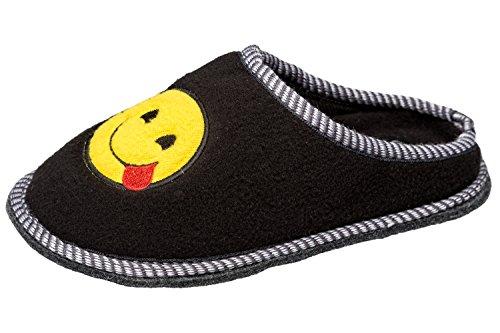 """GIBRA® Emoji Pantoffeln für Damen Hausschuhe """"Zunge"""", Art. 6916, schwarz, Gr. 39"""