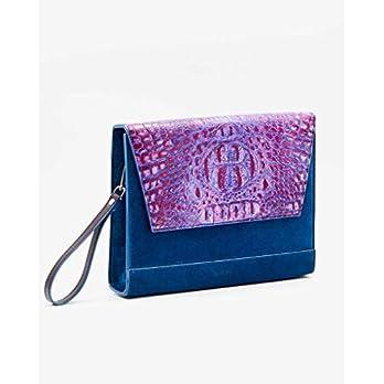SOOFRE Berlin Croco Leder Clutch MARLENE Damen Umhängetasche Kettentasche Abendtasche, Purpur Lila | Blau