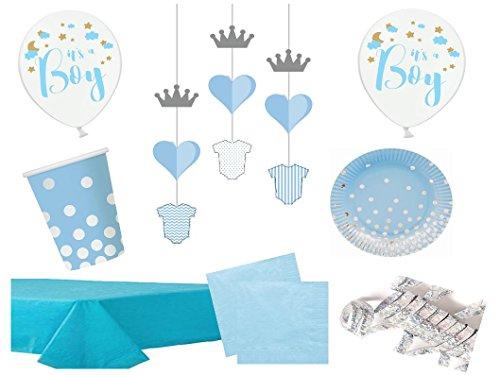 Partydekoset Babyparty Baby Shower Junge hellblau silber für 12 Personen Pullerparty Baby Geburt Babyparty Komplettset Tischdeko Party Geschirr