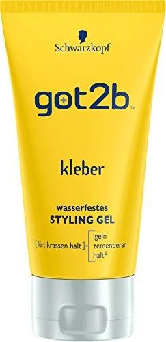 Schwarzkopf Got2b Kleber Wasserfestes Styling Gel, 3er Pack (3 x 150 ml) (Spike-haar-gel)