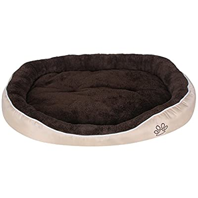 Songmics Plush Soft Oval Dog Bed or Puppy Cushion 2 Colors and 5 Size are Available