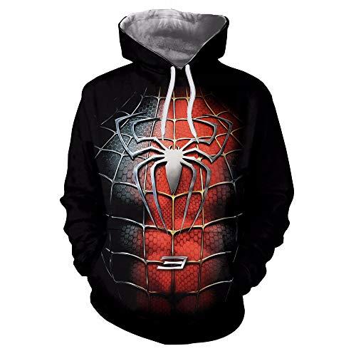 JHGFRT Männer Und Frauen Paar Hoodie Pullover Pullover Spider-Man 3D Gedruckt Pullover Europa Und Die Vereinigten Staaten Persönlichkeit Leichte ()