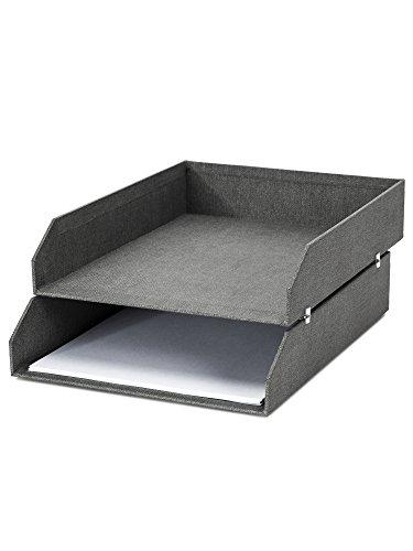 Bigso Box of Sweden 2er-Set Briefablage für den Schreibtisch - stapelbare Ablagefächer für Briefe, Dokumente usw, - Ordnungssystem aus Faserplatte mit Papier in Leinenoptik - grau -