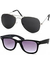 Stacle Premium Flash Mirrored Aviator Sunglasses for Men and Women (Single, Combo Pack of 2 and 3) (ST5203) (Premium Combo of 2 (Black Wayfarer + Silver/Black Aviator))