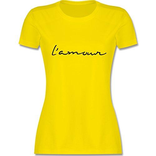 Statement Shirts - l'amour Liebe - tailliertes Premium T-Shirt mit Rundhalsausschnitt für Damen Lemon Gelb