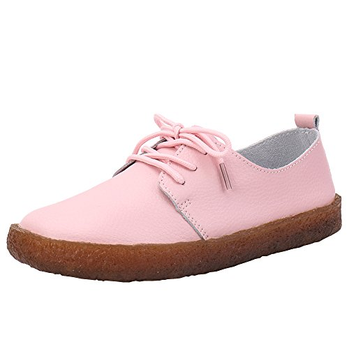 Aleader Women's Classic Leather Lace Up Flats Shoes Cute Ladies Loafers Moccasins Fashion Trainers for Girl Pink 8 UK