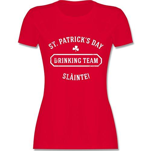 Shirtracer Festival - St. Patrick's Day Drinking Team Sláinte - Damen T-Shirt Rundhals Rot