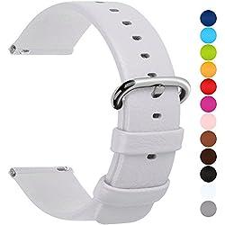 Fullmosa 12 Couleurs pour Bracelet de Montre en Cuir Fixation Rapide, Uli Series Watch Bracelet de Remplacement Cuir de Veau véritable avec Fermoir en métal INOX 20mm Blanc