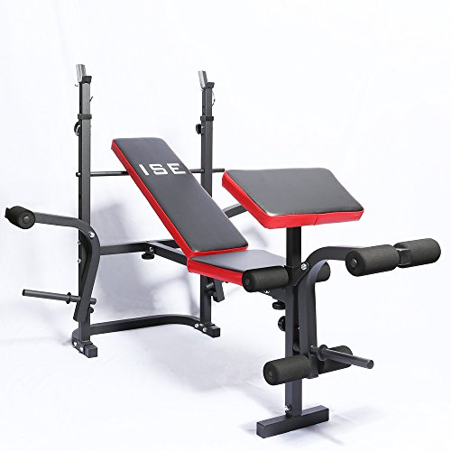 ISE - Banco de musculación multifunción ajustable plegable inclinable para...