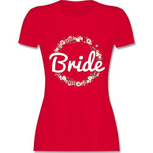 JGA Junggesellinnenabschied - Bride Blumenkranz - L - Rot - L191 - Damen T-Shirt Rundhals
