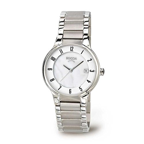 Boccia Women's Quartz Watch with White Dial Analogue Display and Silver Titanium Bracelet B3228-01