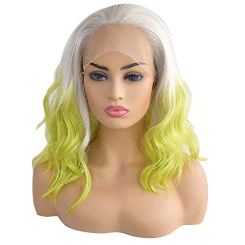Solike Perruques Femmes Cosplay Longues à Ondulés Cheveux Naturel Perruque Avec Lace devant Dégradé Verte Blonde Party Bouclé Ondulé