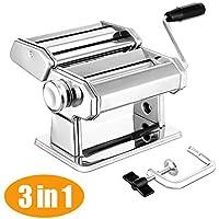 Máquina para hacer pasta de acero inoxidable 304 manual de la máquina de rodillo de pasta para espaguetis frescos y lasaña Tagliatelle Fettuccine plata