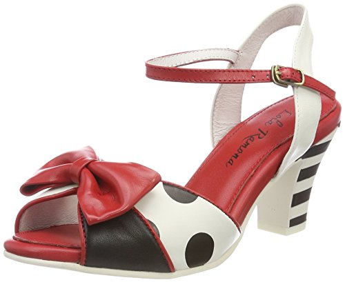 Lola Ramona Damen AVA Peeptoe Pumps, Mehrfarbig (Black/Red/Cream), 37 EU