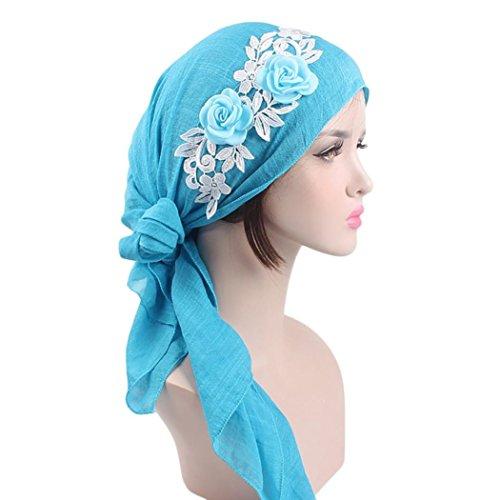 Mitlfuny Damen Kappe Kopftuch Kopfbedeckung Muslime FüR Chemo Krebs Haarverlust Sommer FüR Krebs, Chemo, Haarausfall (Blau)