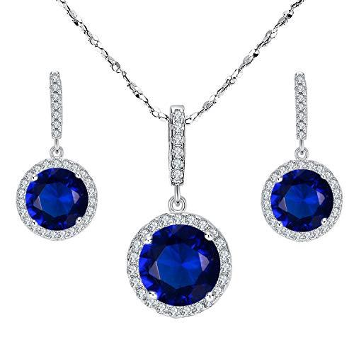 EVER FAITH? collana del pendente argento 925 CZ Splendido taglio rotondo orecchini set zaffiro blu di colore