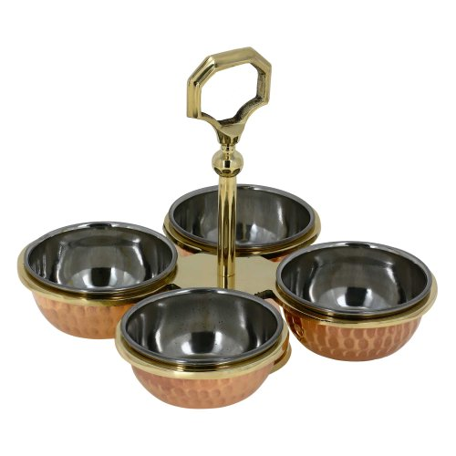 Handmade Condiment Server - Perfect for Indian Cuisine and for Ketchup, Mustard, Mayo, Chutneys, Salsad & Dips - Includes 4 Copper Serving Bowls and Brass Holder
