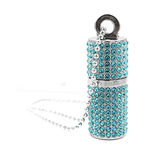 Hunterace - collana con ciondolo a forma di rossetto, con brillantini e chiavetta usb ad alta velocità, in confezione regalo (3 colori) blu 32 gb