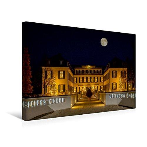 Calvendo Premium Textil-Leinwand 45 cm x 30 cm quer, Schloss Berge im Mondschein | Wandbild, Bild auf Keilrahmen, Fertigbild auf echter Leinwand. Gelsenkirchener Wahrzeichen Orte Orte