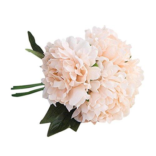 LSAltd Künstliche Seide Pfingstrose Blumen Hochzeit Bouquet Braut Hydrangea gefälschte Blumen Dekor (Rosa)