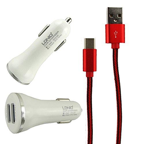 lonior-bianco-argento-rapido-31a-doppia-auto-caricabatteria-usb-rosso-intrecciato-tipo-c-cavo-adatta