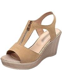 Anguang Elegant Frauen Peep Toe Party Keil Sandalen Plattform Sandalen mit  Reißverschluss 9f038b38ec