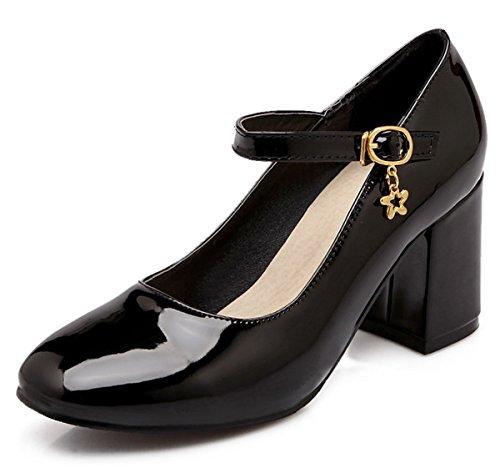 YE Damen Chunky heel Lack 7cm High Heels Pumps mit Riemchen Schnalle Bequem Blockabsatz Geschlossen Schuhe Schwarz
