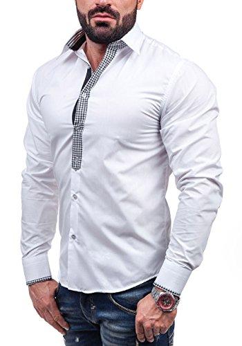 BOLF Langarm Herrenhemd Hemd Figurbetont Freizeit Slim Fit 6873 Weiß