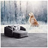 azutura Golden Retriever Hund Fototapete Weißer Winter Tapete Haustier Wohnkultur Erhältlich in 8 Größen Riesig Digital