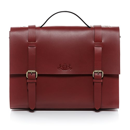 SID & VAIN® Aktentasche BOSTON - Unisex Laptoptasche groß Ledertasche 15 Zoll Laptop Extra-Abtrennung- Businesstasche mit Schultergurt formstabiles Leder Damen Herren echt Sattelleder rot (Bag Boston Elegante)