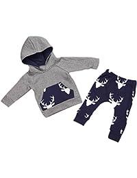 Internet Bébé Garçons enfants Mélange de coton Cerf hauts à capuchon Sweatshirt + pantalon ensemble