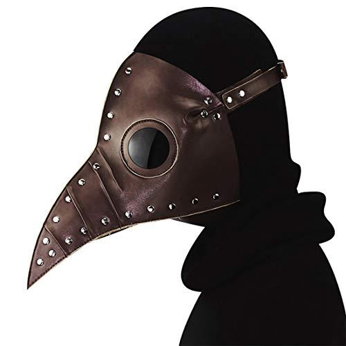 GRYY Pest Doktor Vogel Maske Lange Nase Schnabel Cosplay Steampunk Halloween Kostüm Requisiten Festival Party Dress Up,Brown-OneSize (Eine Party-stadt-masken Für Maskerade)