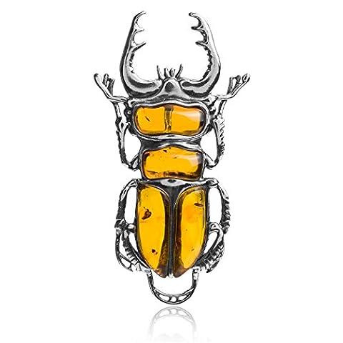 Amber Sterling Silver Large Scarab Beetle Slider Pendant