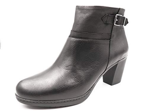 Botin Mujer en Piel Color Negro de la Marca FLUCHOS, tacón Grueso de 6cm de Altura - D7740-85 38 EU...