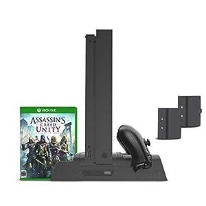 Xbox One Vertikaler Ständer, controller ladestation mit Lüfter Kühler, Blu-Ray Game spiele DVD-Hüllen Stand, Charger Ladegerät Docking Station, 2 Akkus Standfuß mit USB Hub für Xbox One, One S, One X