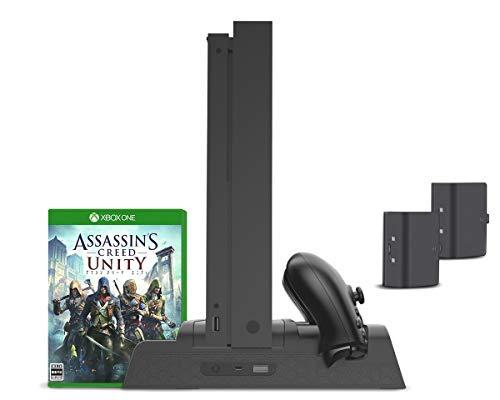 Xbox One Vertikaler Ständer, controller ladestation mit Lüfter Kühler, Blu-Ray Game spiele DVD-Hüllen Stand, Charger Ladegerät Docking Station, 2 Akkus Standfuß mit USB Hub für Xbox One, One S, One X (Xbox One Mit Spiele-bundle)