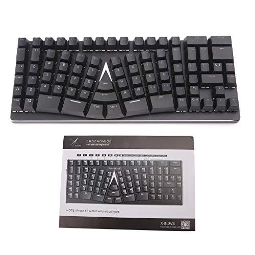 Ergonomische Gaming-Tastatur mit 86 Tasten, USB Typ C, verkabelt für Microsoft HP LG PC Laptop Tablet