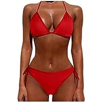 Sylar Bañador para Mujer Conjunto de Bikini Color Sólido con Relleno Bikini Brasileños Push Up Cuello Halter Traje de Baño 2 Piezas Ropa de Playa Anudado Tanga Braguitas de Playa