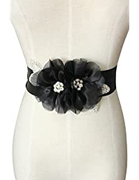Lemandy Crystals and Two Organza Flowers with Special Design Pearls Wedding Sashs Dress Belts in 6 Colors