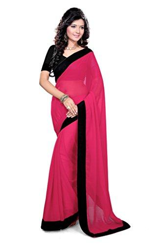 Damen Designer Sari mit Ungesteckt Oberteil/Top Mirchi Fashion Gedruckte (Kleid Pretty Kostüm Roten Woman)