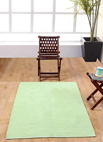 Homescapes waschbarer Chenille Teppich Vorleger 60 x 100 cm aus 100% reiner Baumwolle, Farbe: grün, pflegeleicht und