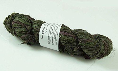 100g Recycled Sari Silk Ribbon Garn, Schmuck machen Trim - Olive Green Mix Olive Green Silk Saree