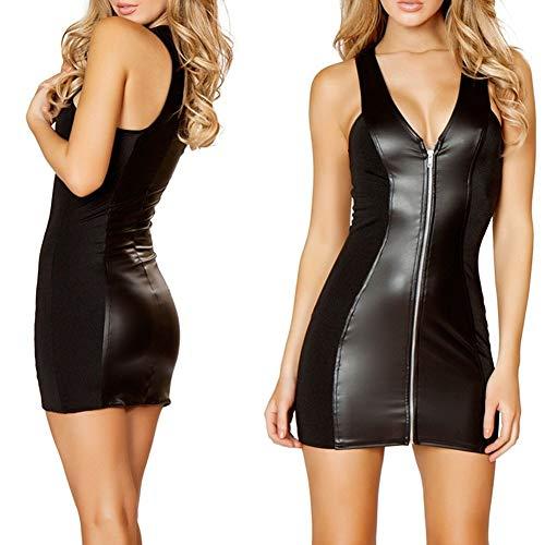 JZTRADING Lederkleid Sexy Bodycon Unterwäsche Aus Lackleder Hot Erotic Unterwäsche Leder Sexy Dessous Rollenspiele Frauen Sexy Dessous Kostüm-Outfit XL