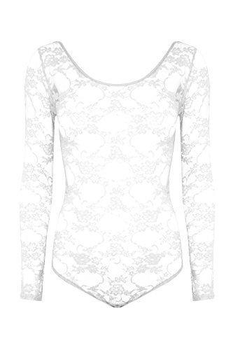 Damen Langärmlig Voll Spitze Netz Blumenmuster Turnzug Bodysuit T-shirt Top - Weiß - Neu Runder Halsausschnitt Ausgestattet, (Bodysuit Weißen Full)