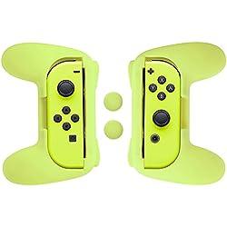 1 de AmazonBasics - Kit de empuñaduras para mandos Joy-Con de Nintendo Switch - Amarillo neón