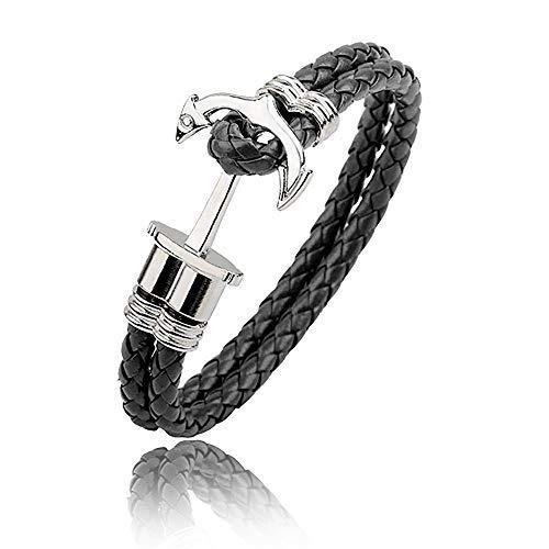 WikiMiu Bracelet Homme en Cuir Design Ancre Tressé à la...